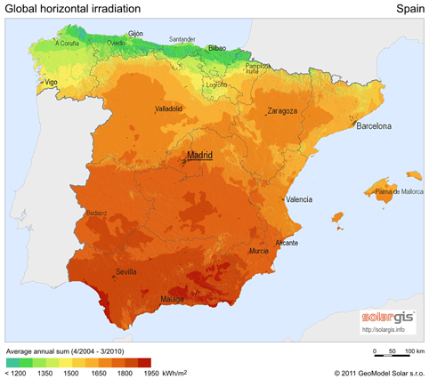 Global horizontal irradiation Spain